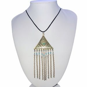 Hand Crafted Pyramid Pendant Beaded Chain Tassels